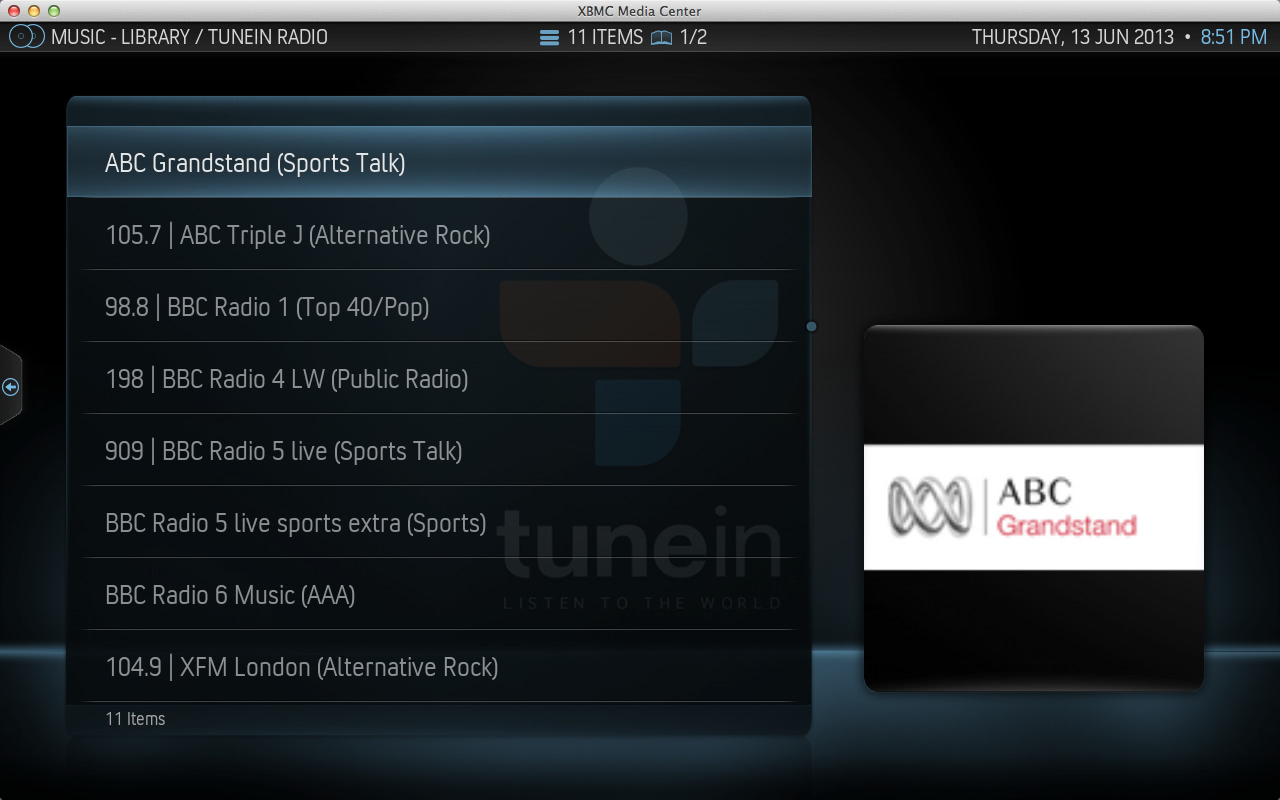TuneIn Radio Favourites Menu